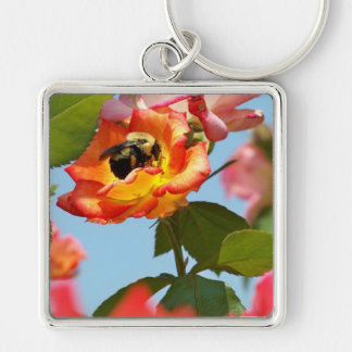 Bumble Bee on rose Silver-Colored Square Key Ring