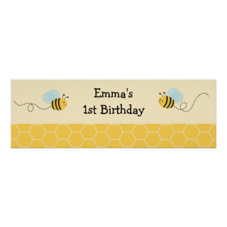 Bumble Bee Personalized Banner Sign Poster