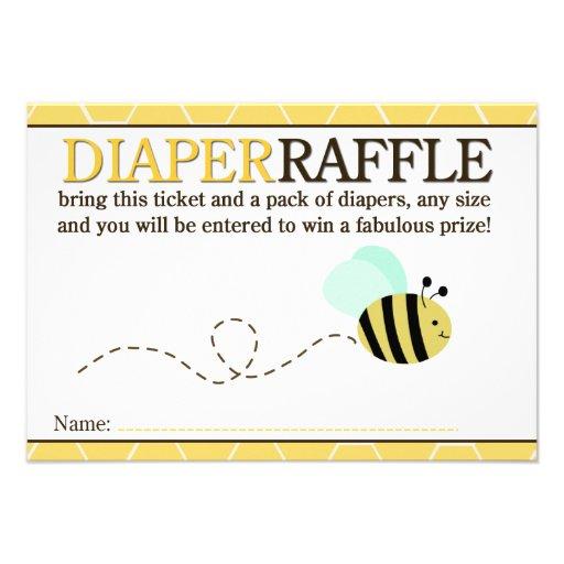 Bumble Bee Shower Diaper Raffle Card 9 Cm X 13 Cm Invitation Card ...