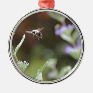 Bumble Bee Silver-Colored Round Decoration