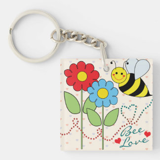 Bumble Bee With Flowers Bee Love Key Ring