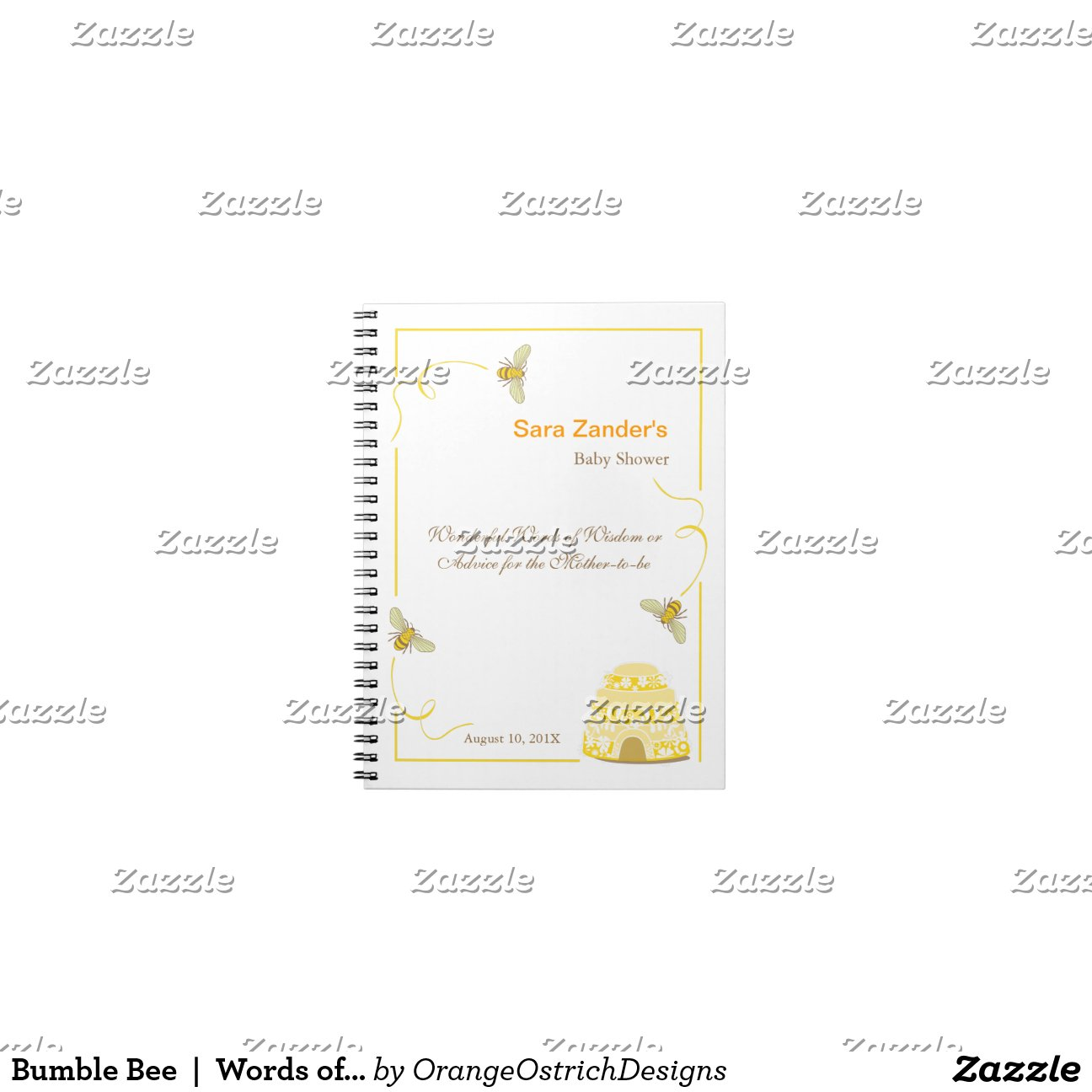 Bumble Bee Words Of Advice Baby Shower Notepad Zazzle