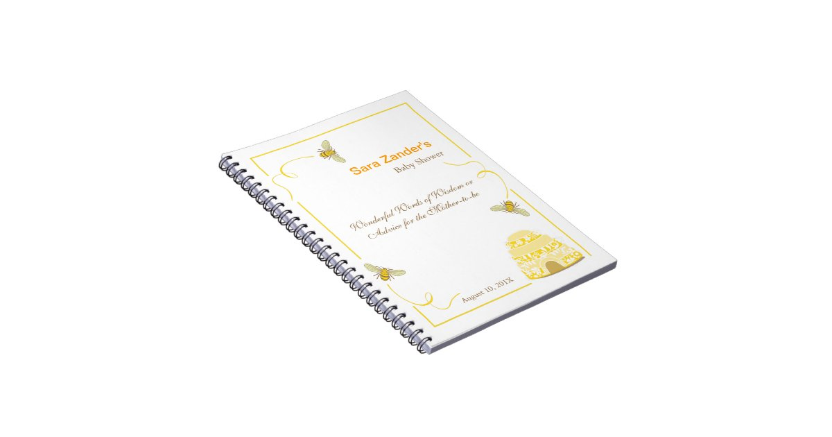 Bumble Bee Words Of Advice Baby Shower Notepad Notebooks