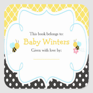 Bumble Bee Yellow And Black Baby Shower Bookplate Square Sticker