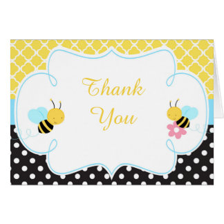 Bumble Bee Yellow and Black Baby Thank You Card