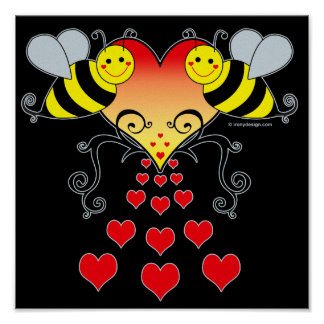 Bumble Bees & Hearts Art Posters