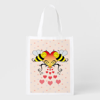 Bumble Bees Love Hearts Reusable Grocery Bag