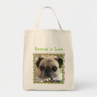 Bumble tote bag: Itsy Pug/Rescue is Love