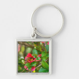 Bumblebee And Azalea Silver-Colored Square Key Ring