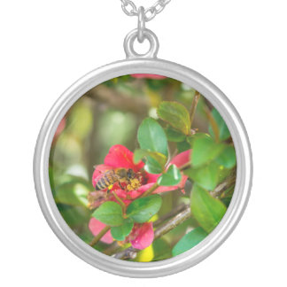 Bumblebee And Azalea Silver Plated Necklace