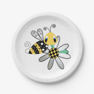 Bumblebee and Daisy 7 Inch Paper Plate
