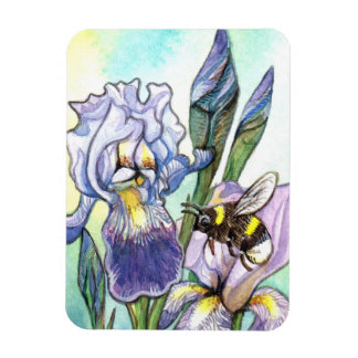 Bumblebee And Irises Magnet