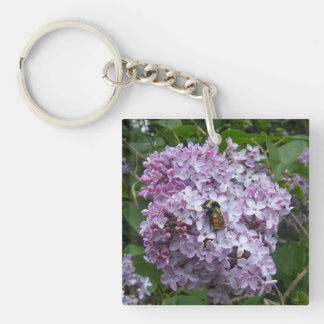 Bumblebee and Lilac Tree Keychain