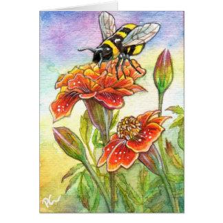 Bumblebee And Marigold Card