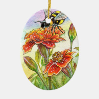 Bumblebee And Marigold, Iris Ceramic Ornament
