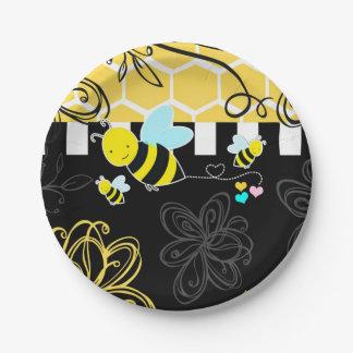 Bumblebee Black & Yellow Baby Shower Modern Chic Paper Plate