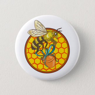 Bumblebee Carrying Honey Pot Beehive Circle 6 Cm Round Badge
