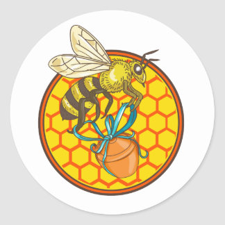 Bumblebee Carrying Honey Pot Beehive Circle Classic Round Sticker