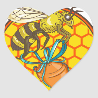 Bumblebee Carrying Honey Pot Beehive Circle Heart Sticker