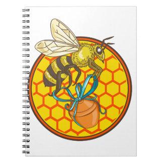 Bumblebee Carrying Honey Pot Beehive Circle Notebook