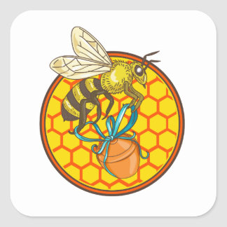 Bumblebee Carrying Honey Pot Beehive Circle Square Sticker