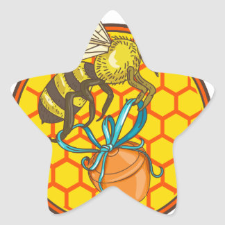 Bumblebee Carrying Honey Pot Beehive Circle Star Sticker