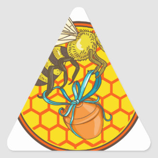Bumblebee Carrying Honey Pot Beehive Circle Triangle Sticker