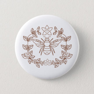 Bumblebee Coffee Flower Leaves Icon 6 Cm Round Badge