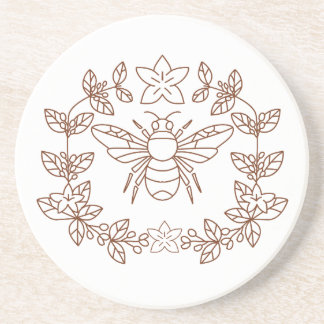 Bumblebee Coffee Flower Leaves Icon Coaster