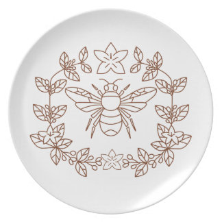Bumblebee Coffee Flower Leaves Icon Plate
