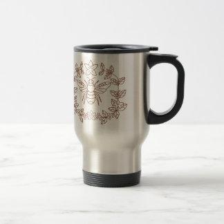 Bumblebee Coffee Flower Leaves Icon Travel Mug