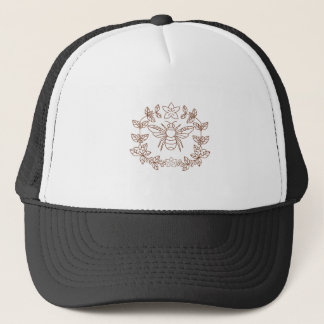 Bumblebee Coffee Flower Leaves Icon Trucker Hat