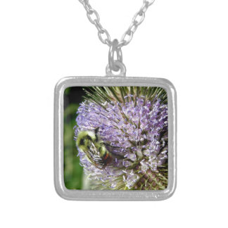 Bumblebee hard at work silver plated necklace