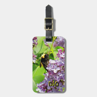 Bumblebee on Lilac Bush with your  initials Luggage Tag