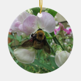 Bumblebee on Sweet Pea Ceramic Ornament