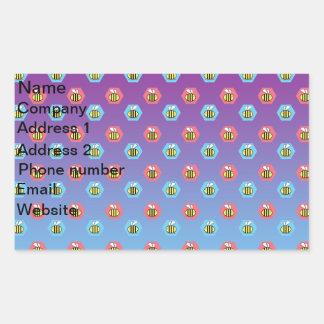Bumblebee pattern on purple blue fade rectangular sticker