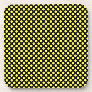 Bumblebee Yellow on Black Small Polka Dot Beverage Coasters