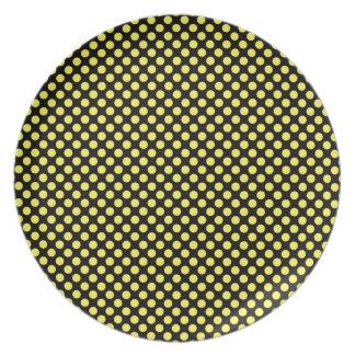 Bumblebee Yellow on Black Small Polka Dot Plate