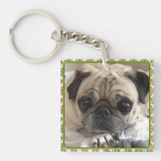 Bumblesnot Keychain: Itsy Pug/Rescue is Love Key Ring