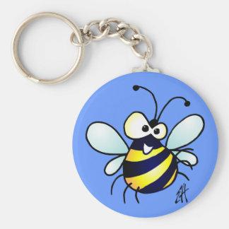 Bumbling Bee Basic Round Button Key Ring