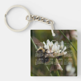 Bumbling in the Clover; 2013 Calendar Single-Sided Square Acrylic Key Ring