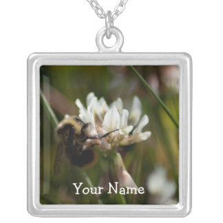 Bumbling in the Clover; Customizable Square Pendant Necklace