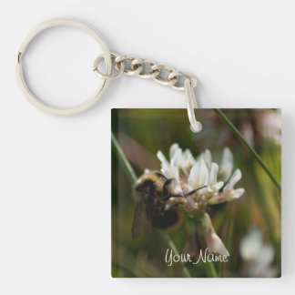 Bumbling in the Clover; Customizable Single-Sided Square Acrylic Key Ring
