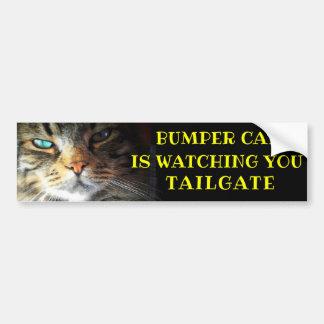Bumper Cat is watching TAILGATE 41 Meme Bumper Sticker