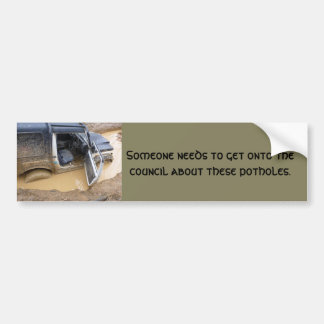 Bumper sticker 4x4 off roader jeep stuck in mud