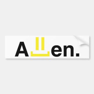 Bumper sticker: allen bumper sticker
