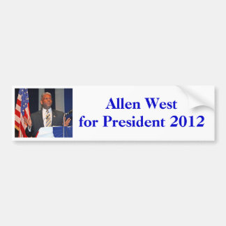Bumper sticker, Allen West for President 2012 Bumper Sticker