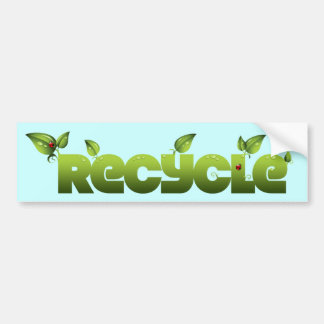 Bumper Sticker, Recycle, Green Leaves, Ladybug Bumper Sticker