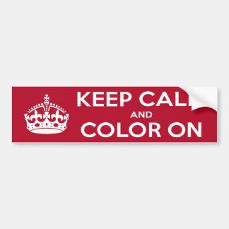 Bumper Sticker Red Keep Calm and Color On Car Bumper Sticker