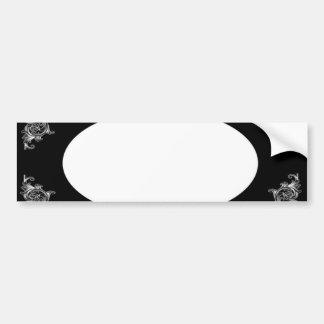 Bumper sticker VINTAGE FLORAL BLACK Damask